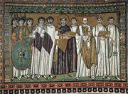 Mosaïque représentant un groupe d'hommes en tenues ecclésiastiques blanches en entourant un autre portant une toge noire. Des hommes en armes se tiennent à leurs côtés.