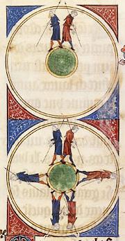 Enluminure représentant deux personnages partant du haut d'une sphère miniature et se retrouvant en bas.