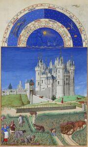 Enluminure d'une scène de vendanges en contrebas d'un imposant château de style gothique