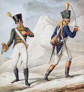 Grande Armée - Line Infantry Cornet & Officer of Voltigeurs
