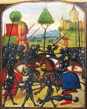 Illustration représentant la mêlée de deux armées composées de soldats portant des armures noires intégrales