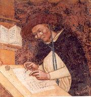 Fresque représentant un homme en habits de moines portant des lunettes rondes en train d'écrire sur un pupitre