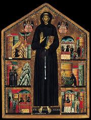 Peinture sur bois représentant un homme en habits de moine dont les proportions ont été allongées. Plusieurs scènes représentant des moines sont situées de chaque côté.