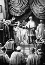 Cardinal Camerlengo certifying a papal death
