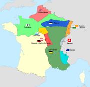 carte représentant les zones d'occupations du nord et de l'est de la France