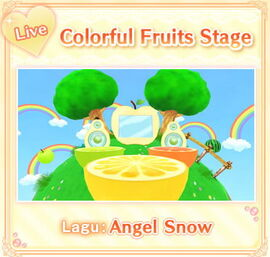 Colorful fruits stage