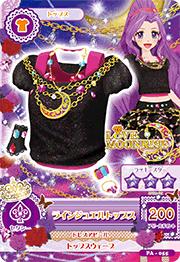 Card blusa rosa con negro y collar luna