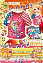 Card blusa rosa con rojo y azul americana
