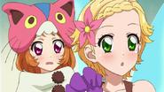 Akari and Hinaki blushing because Sumire's costume