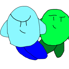 Blue Kirby alongside Green Kirby.