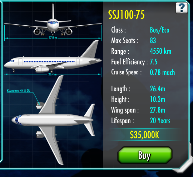 Sukhoi Superjet 100 | Air Tycoon Online Wiki | FANDOM powered by Wikia