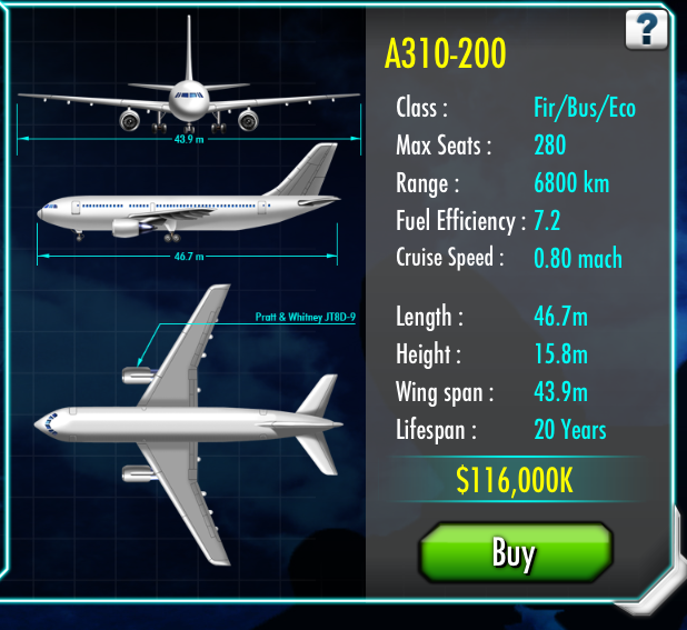 Airbus A310 | Air Tycoon Online Wiki | FANDOM powered by Wikia