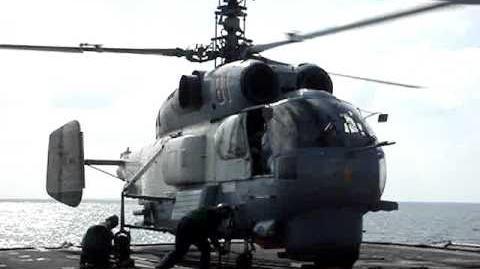 Russian Ka-27 Helix Landing aboard USS Vella Gulf