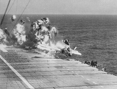 F7U-3 CVA-19 ramp strike 1955