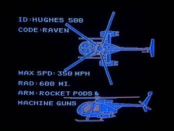 Airwolf computer readout on Huges 500-random target