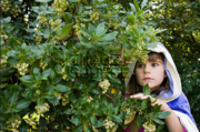 Girl hiding behind bush