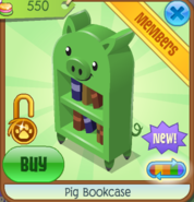 PigBookcaseGreen