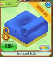 Section Sofa Blue Backwards