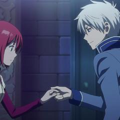 Zen taking Shirayuki's hand.