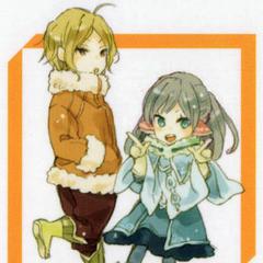 Chibi art of Suzu and Yuzuri from volume 9.