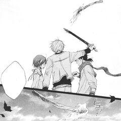 Zen knocks Mihaya's fire away from Shirayuki's face.