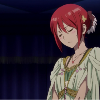 Shirayuki looking flustered in her ball dress.