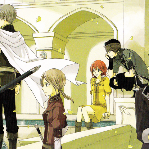 Shirayuki with Zen and his retinue in one of the palace's garden courtyards. (<a href=