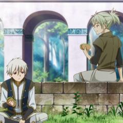 Atori and Zen share a sandwich.
