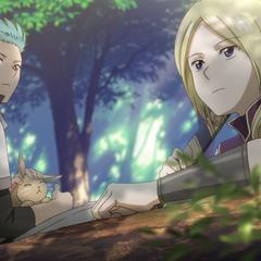 Mitsuhide and Kiki watch over Zen from afar.