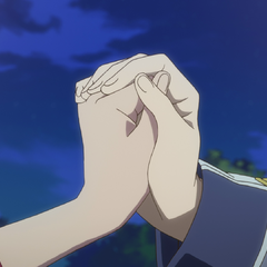 Zen and Shirayuki hold hands.