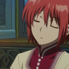 Shirayuki falls asleep sitting up.