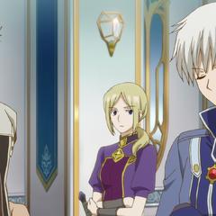 Mitsuhide, Kiki, and Zen in Zen's office.