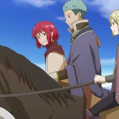 Shirayuki rides with Mitsuhide and Kiki.