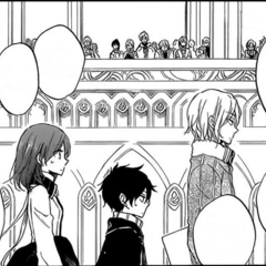 Shirayuki, Obi and Suzu walking on the main floor of the Pharmacy Building Entry Hall. (Chapter 60)
