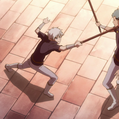 Mitsuhide and Zen practice sword fighting.