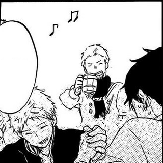 Knight laughing at his friend who is arm wrestling Mitsuhide. (<a href=