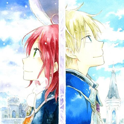 Zen in front of a Wistal Palace spire and Shirayuki in front of a <a href=