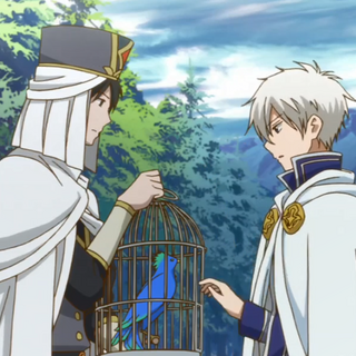 Shikito holding the cage for Zen to put the Yuri Island bird inside.