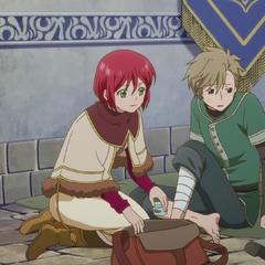 Shirayuki tends to Shuka.