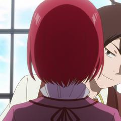 Raji impressed by Shirayuki's hair color.