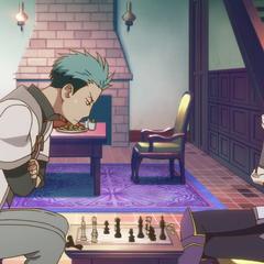 Mitsuhide losing to Kiki at chess.