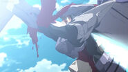 Tatsumi Stop the machine as the blood bursts right out of his arms