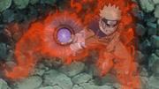 Naruto en la Version 1 mientras hace un Rasengan