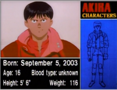Kaneda's information card according to the Production Report (1988)