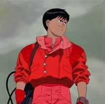 Kaneda wearing the motorcycle attire jacket