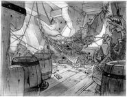 Raiders of the Lost Shark concept art of Aladdin's room