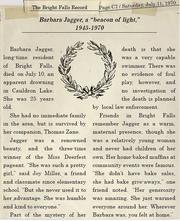 Zeitungsbericht über Barbara Jaggers Tod