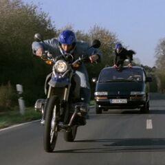 Motorrad-Verfolgungsjagd.