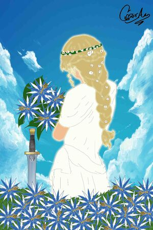 Diosa Helen en jardin de Heleniscus