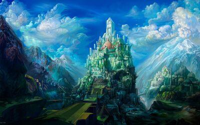 Wallpaper-Fantasia-Ciudad-en-Montañas